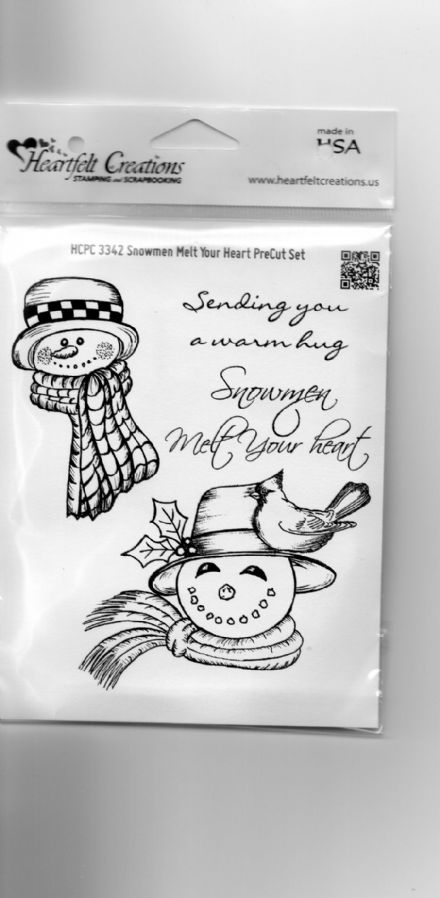 HCPC 3342 ~ SNOWMEN MELT YOUR HEART  ~ DISCONTINUED ~  stamps HEARTFELT CREATIONS